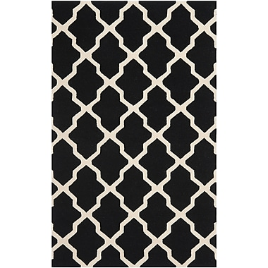 Safavieh Zoey Cambridge Wool Pile Area Rug, Black/Ivory, 4' x 6'