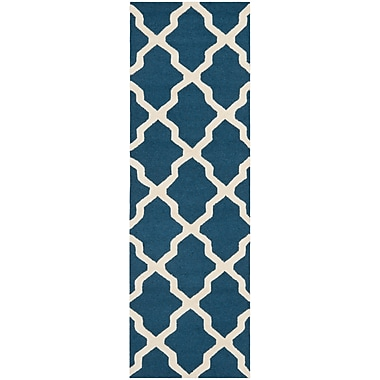 Safavieh Zoey Cambridge Wool Pile Area Rug, Navy Blue/Ivory, 2' 6