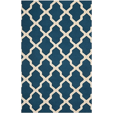 Safavieh Zoey Cambridge Wool Pile Area Rug, Navy Blue/Ivory, 5' x 8'
