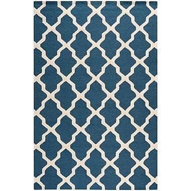 Safavieh Zoey Cambridge Wool Pile Area Rug, Navy Blue/Ivory, 6' x 9'