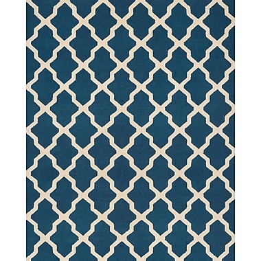 Safavieh Zoey Cambridge Wool Pile Area Rug, Navy Blue/Ivory, 9' x 12'