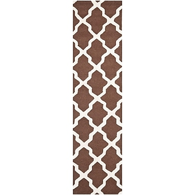 Safavieh Zoey Cambridge Wool Pile Area Rug, Dark Brown/Ivory, 2' 6