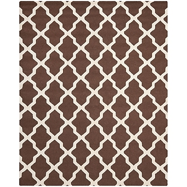 Safavieh Zoey Cambridge Wool Pile Area Rug, Dark Brown/Ivory, 8' x 10'