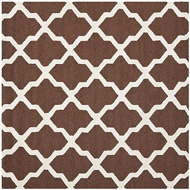 Safavieh Zoey Cambridge Wool Pile Area Rug, Dark Brown/Ivory, 8' x 8'