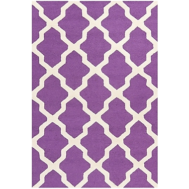 Safavieh Zoey Cambridge Wool Pile Area Rug, Purple/Ivory, 5' x 8'
