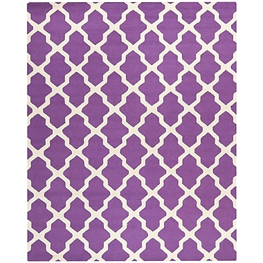 Safavieh Zoey Cambridge Wool Pile Area Rug, Purple/Ivory, 6' x 9'