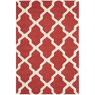 Safavieh Zoey Cambridge Wool Pile Area Rug, Rust/Ivory, 3' x 5'