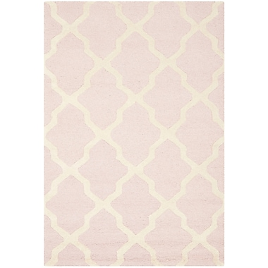Safavieh Zoey Cambridge Wool Pile Area Rug, Light Pink/Ivory, 3' x 5'