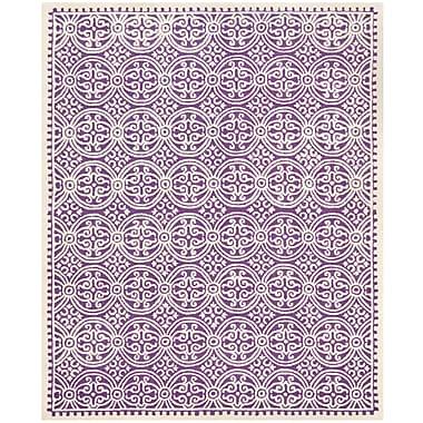 Safavieh Wyatt Cambridge Wool Pile Area Rug, Purple/Ivory, 9' x 12'