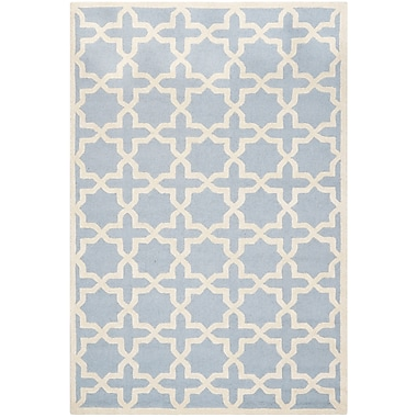 Safavieh Trinity Cambridge Wool Pile Area Rug, Light Blue/Ivory, 6' x 9'