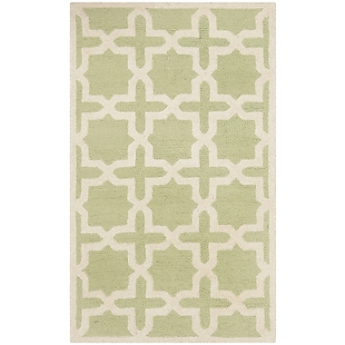 Safavieh Trinity Cambridge Wool Pile Area Rug, Light Green/Ivory, 3' x 5'