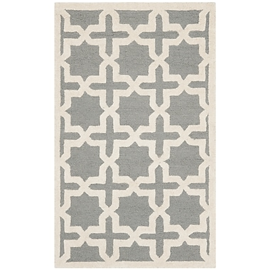 Safavieh Trinity Cambridge Wool Pile Area Rug, Silver/Ivory, 4' x 6'