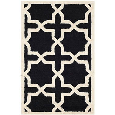 Safavieh Trinity Cambridge Wool Pile Area Rug, Black/Ivory, 2' x 3'