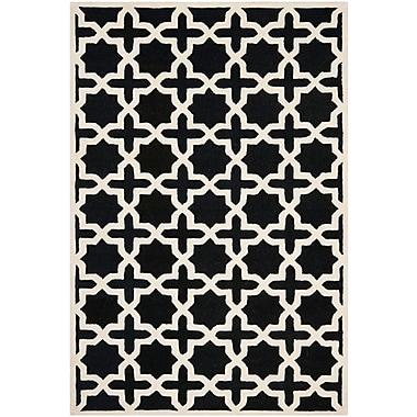 Safavieh Trinity Cambridge Wool Pile Area Rug, Black/Ivory, 5' x 8'
