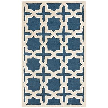 Safavieh Trinity Cambridge Wool Pile Area Rug, Navy Blue/Ivory, 4' x 6'