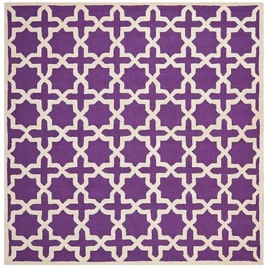 Safavieh Trinity Cambridge Wool Pile Area Rug, Purple/Ivory, 8' x 8'
