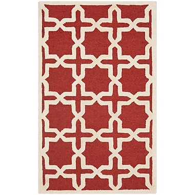 Safavieh Trinity Cambridge Wool Pile Area Rug, Rust/Ivory, 4' x 6'