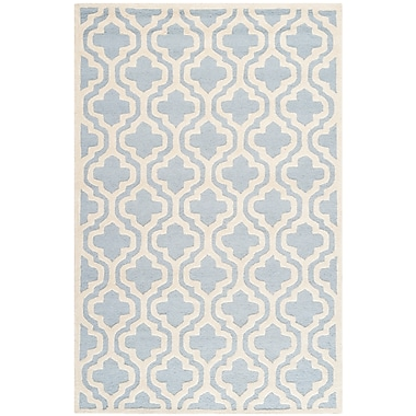 Safavieh Rachel Cambridge Wool Pile Area Rug, Light Blue/Ivory, 5' x 8'