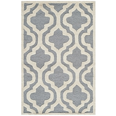 Safavieh Rachel Cambridge Wool Pile Area Rug, Silver/Ivory, 2' x 3'
