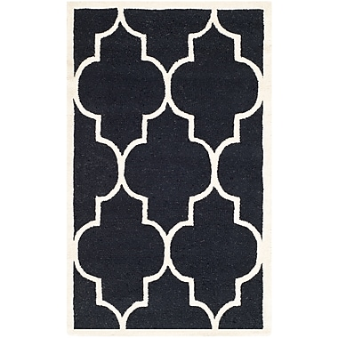 Safavieh Penelope Cambridge Wool Pile Area Rug, Black/Ivory, 3' x 5'
