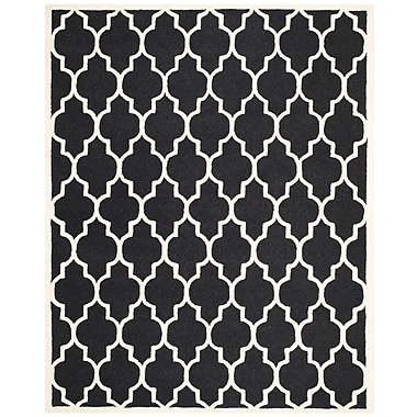 Safavieh Penelope Cambridge Wool Pile Area Rug, Black/Ivory, 9' x 12'