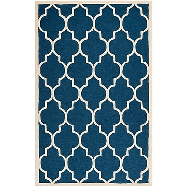 Safavieh Penelope Cambridge Wool Pile Area Rug, Navy/Ivory, 5' x 8'