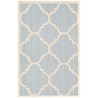 Safavieh Jasmine Cambridge Wool Pile Area Rug, Light Blue/Ivory, 5' x 8'