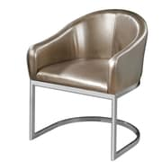 Uttermost Marah Metal/Faux Leather Accent Chair, Beige/Silver