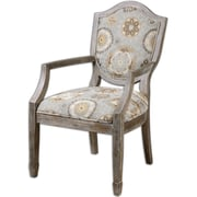 Uttermost Valene Wood/Fabric/Foam/Metal Accent Chair, Blue/Pebble Tan