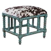 Uttermost Chahna Wood/Fabric/Foam Small Bench, Aqua Blue/Dark Chocolate/Milky White