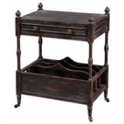 Uttermost Phineas 31 x 24 x 16 Wood Magazine Table, Slate Black/Red