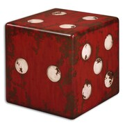 """Uttermost Dice 19"""" x 19"""" x 19"""" MDF/Fir Wood Accent Table, Burnt Red/Antiqued Ivory"""