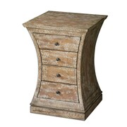 Uttermost Avarona 4 Drawer Birch Veneer Accent Chest, Almond/Ivory