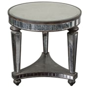 Uttermost Sinley 28 x 28 x 28 Mirror Accent Table, Distressed Ebony