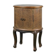 "Uttermost Ascencion 32"" x 24"" x 17"" Embossed Wood Accent Table, Rust Brown/Copper"