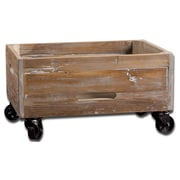 Uttermost Stratford Reclaimed Fir Wood Rolling Box, Natural