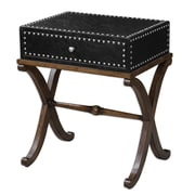 Uttermost Lok 29 x 24 x 18 Faux Leather Accent Table, Black/Antique Walnut