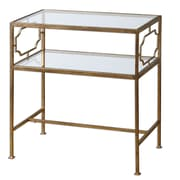 """Uttermost Genell 26"""" x 24"""" x 14"""" Tempered Glass Side Table, Gold Leaf"""