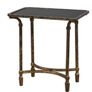 Uttermost Zion 26 x 25 x 17 Tempered Glass End Table, Black/Tarnished Gold Leaf