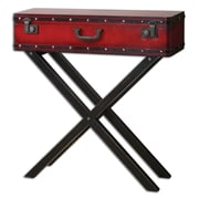 "Uttermost Taggart 32"" x 32"" x 10"" Wood Console Table, Red/Black"