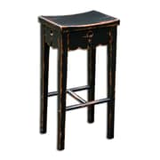 Uttermost Dalit Solid Mahogany Wood Bar Stool, Black/Red