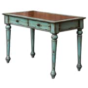Uttermost Axelle Solid Mango Wood Writing Desk, Mahogany/Sea Glass Blue