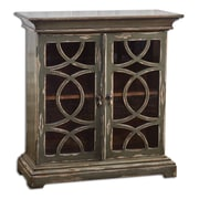 Uttermost Duran Wood Console Cabinet, Mahogany/Charcoal /Aged White
