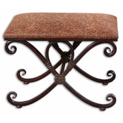 Uttermost Manoj Metal/Flakeboard/Foam/Fabric Small Bench, Brown