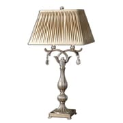 "Uttermost Floriane 37"" Table Lamp, Antiqued Silver Leaf"