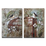 Uttermost Billy Moon 2-Piece Birds in A Cage Canvas Wall Art