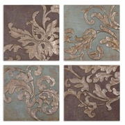 Uttermost Grace Feyock 4-Piece Damask Relief Blocks Wall Plaque