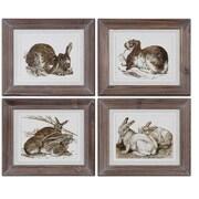 Uttermost Grace Feyock 4-Piece Regal Rabbits Framed Wall Art