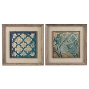 Uttermost Grace Feyock 2-Piece Stained Glass Indigo Wall Art