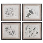 Uttermost Grace Feyock 4-Piece Sepia Leaf Study Wall Art